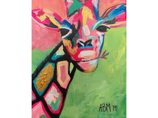 "Pintura ""Pink Giraffe"""