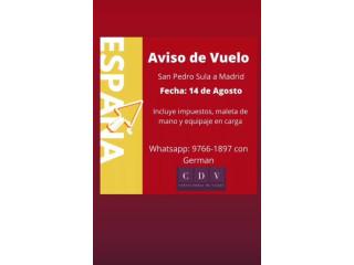 Vuelo San Pedro Sula a Madrid
