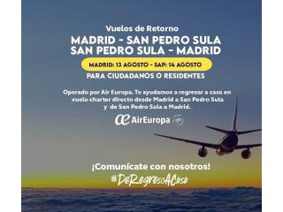 Vuelo Madrid a San Pedro Sula 13 Agosto
