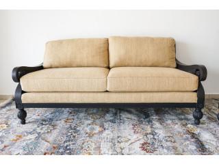 Nuevo Sofá de Tela Beige con Respaldo de Rattan Negro