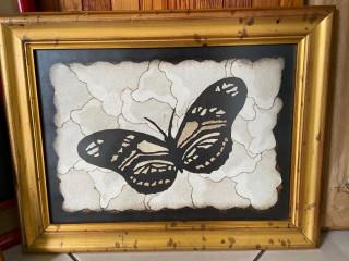 Cuadro de mariposa de cuero