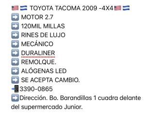 VENDO TOYOTA TACOMA 2009 4x4 Mecanico.