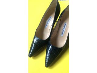Zapatos Manolo Blahnik piel de cocodrilo azul navy