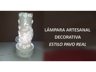 Lampara artesanal estilo PAVO REAL