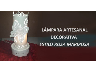 Lampara artesanal estilo Mariposa y Rosa