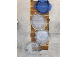 Plato de Tarta o Pie, vidrio Azul y transparentes