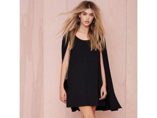 Nasty Gal | Black Cape Dress